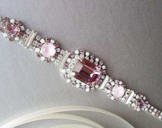 Amethyst Swarovski bridal belt, Super skinny lilac bridal belt, Dainty crystal belt sash, Thin Swarovski crystal wedding belt light purple