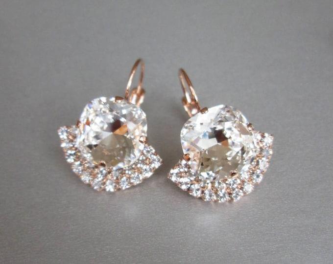 Rose gold bridal crystal earrings, Swarovski crystal bridal earrings, Drop earrings, Wedding rhinestone earrings in gold, silver, rose gold
