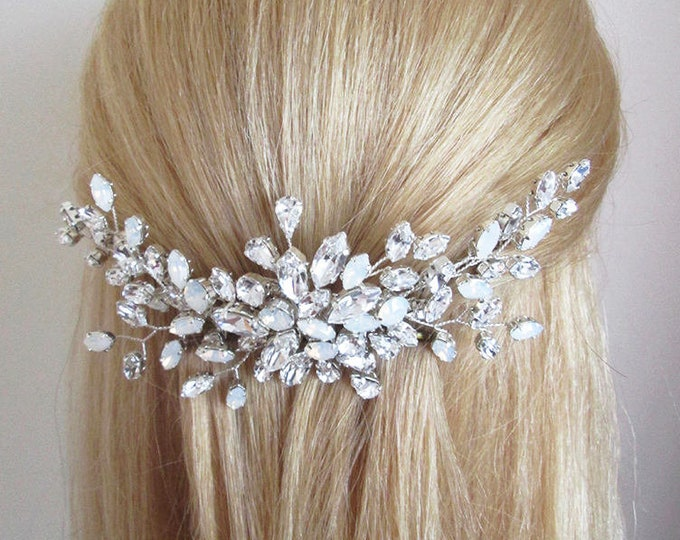 Opal Swarovski crystal hair comb, Bridal crystal hair comb, Rhinestone bridal comb, Opal Wedding hair comb, Bridal comb in gold or silver