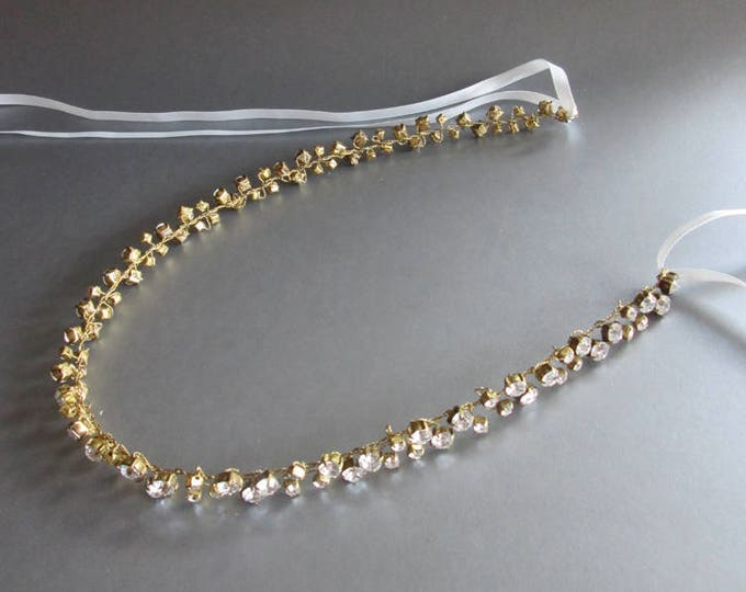 Bridal belt in antique brass, Skinny bridal belt sash, Wedding belt, Floating crystal belt, Swarovski crystal belt, Tarnished brass belt
