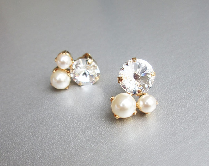 Swarovski crystal bridal earrings, Crystal and pearl bridal studs, Stud rhinestone wedding earrings in gold, silver, rose gold