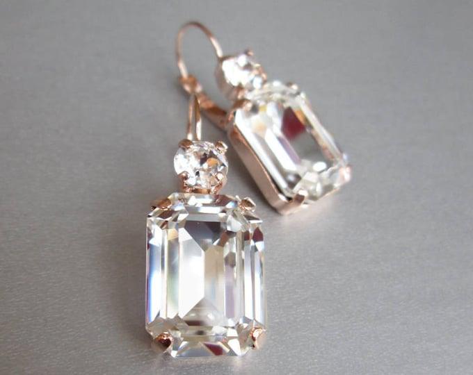 Rose gold Swarovski crystal earrings, Emerald cut bridal earrings, Rhinestone earrings in gold, rose gold, silver, Wedding drop earrings