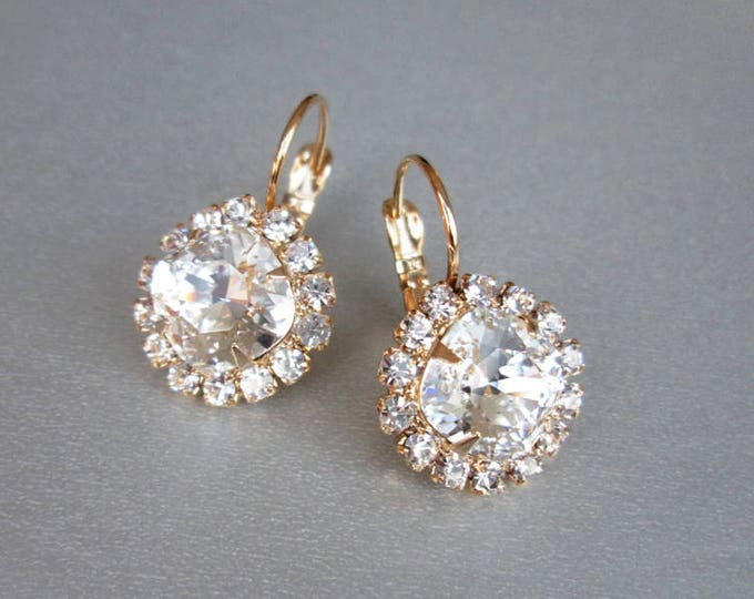Swarovski crystal bridal earrings, Swarovski earrings, Rhinestone earrings in gold or silver, Bridal crystal earrings, Wedding earrings