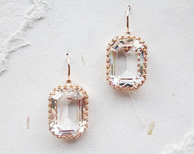 Transparent Swarovski crystal bridal earrings, Emerald cut drop earrings, Clear stone earrings in gold, silver, rose gold, Wedding earrings