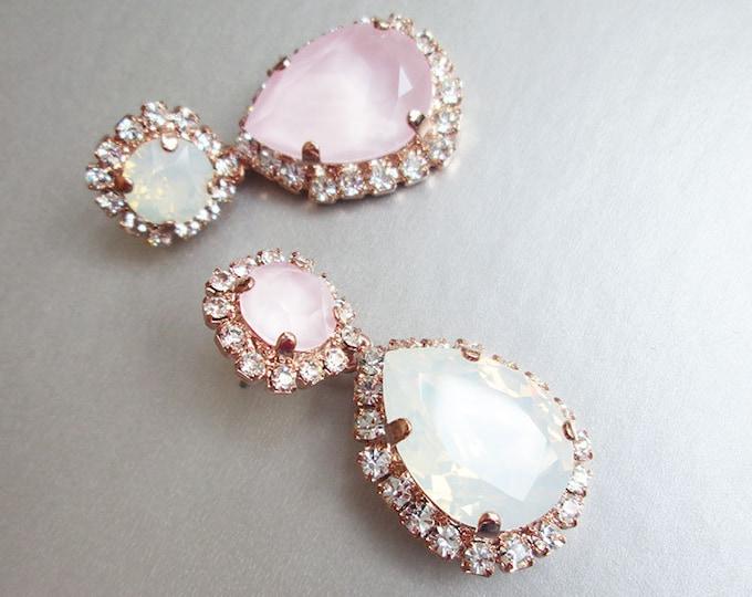 Pastel pink Bridal crystal earrings, White opal Swarovski wedding earrings, Teardrop dangling earrings, Drop earrings gold, silver, rose