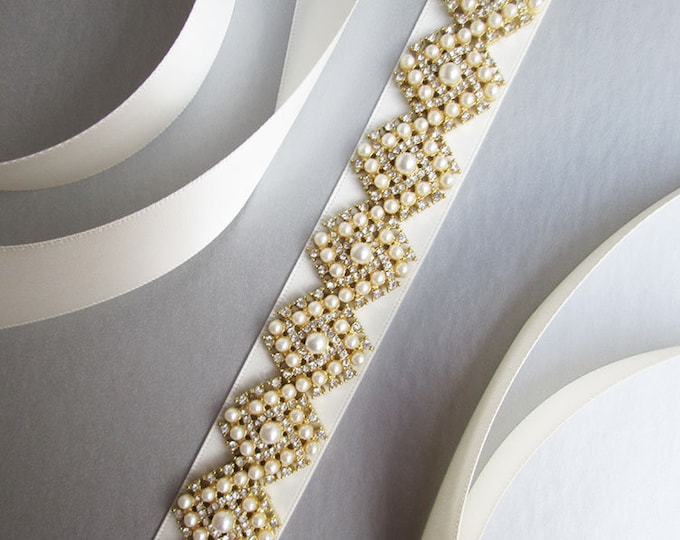 Bridal belt sash, Bridal crystal and pearl belt sash, Wedding crystal belt, Crystal and pearl bridal belt in gold, silver, rose gold