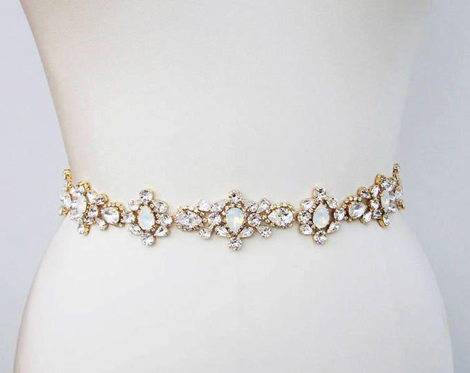 Bridal belt sash, Crystal belt white opal in silver or gold, Wedding belt, Swarovski Opal bridal belt, Rhinestone bridal Swarovski sash