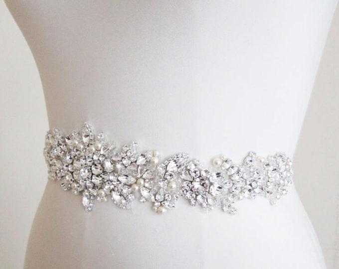 Exquisite Swarovski crystal bridal belt, Wedding belt, Rhinestone and pearl bridal belt in gold, rose gold or silver, Swarovski belt sash