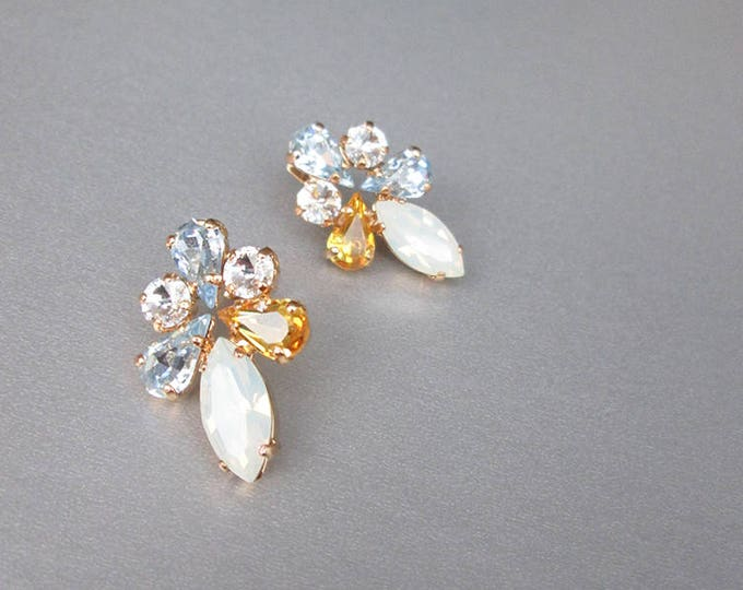 Swarovski crystal bridal earrings, Opal, topaz and aquamarine crystal studs, Stud rhinestone wedding earrings in gold, silver, rose gold