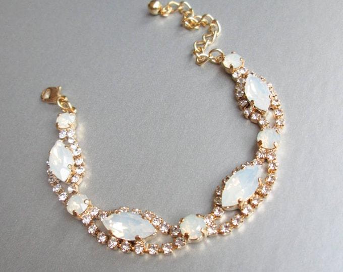 Swarovski crystal opal bridal bracelet, Swarovski opal bracelet, Wedding crystal rhinestone bracelet in gold or silver, Opal bracelet
