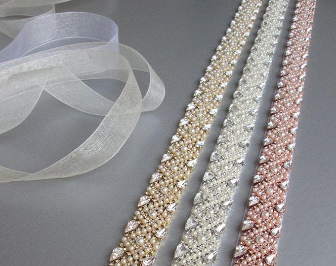 Bridal belt sash, Bridal Swarovski crystal belt sash, Wedding crystal belt, Crystal and pearl bridal belt in gold, silver, rose gold