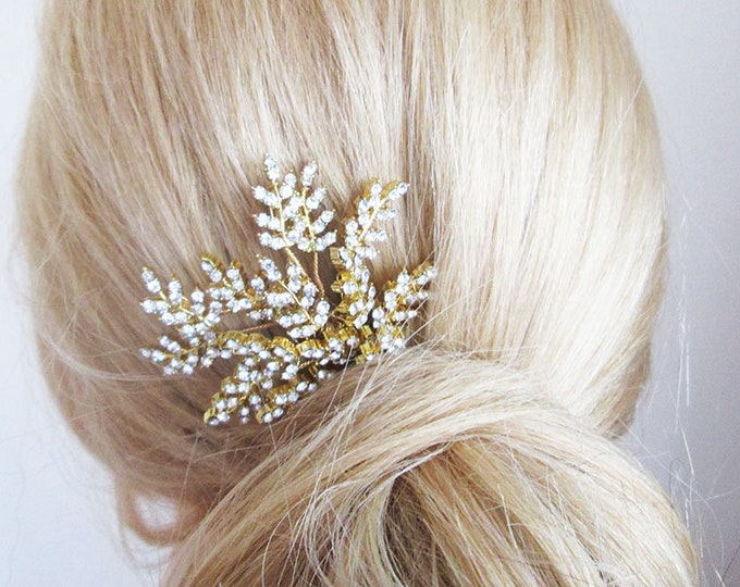 Crystal leaf hair pin in gold, silver or rose gold, Bridal crystal gold hair pin, Crystal hair pin, Wedding hair pins, Crystal leaf pin
