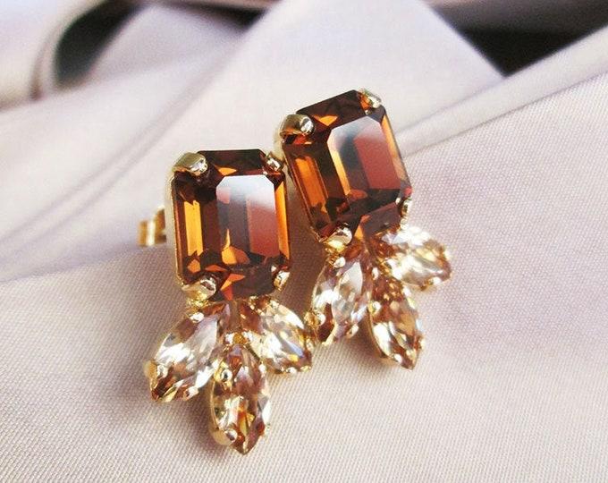 Honey Topaz Swarovski crystal studs, Emerald cut Swarovski earrings, Dainty stud earrings in gold silver, rose, Wedding party bridesmaids
