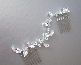 Swarovski crystal hair vine, Bridal crystal hair vine, Dainty crystal hair vine in gold, silver and rose gold, Bridal crystal comb