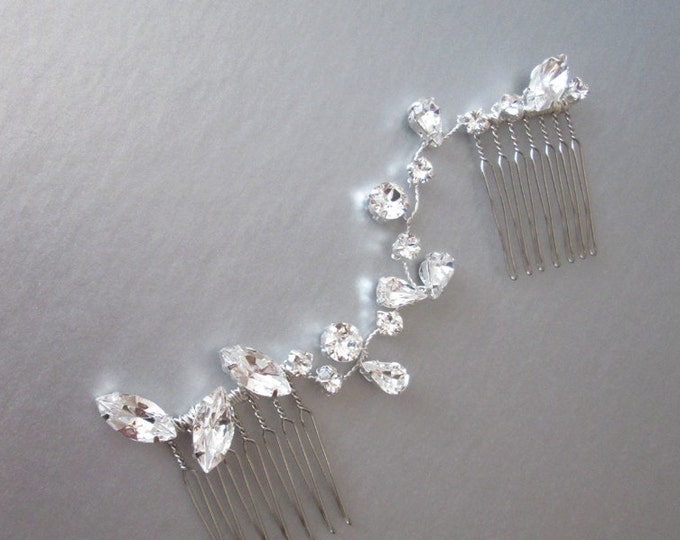Swarovski crystal hair vine, Bridal crystal hair vine, Dainty crystal hair vine in gold, silver and rose gold, Bridal crystal comb