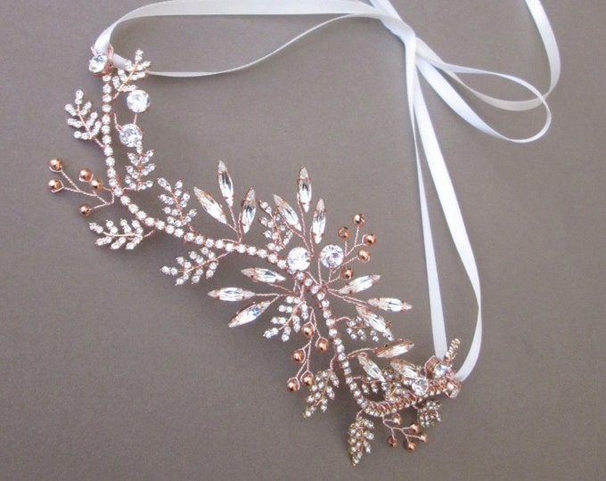 Rose gold hair vine, Bridal crystal headband, Bridal hair vine, Swarovski crydtal hair vine in rose gold, silver or gold, Bridal headband