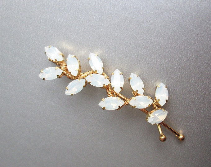 Opal Bridal hair pin, Swarovski crystal bobby pin, Wedding crystal bobby pin, Leaf rhinestone bobby pin hair clip, gold, silver, rose gold