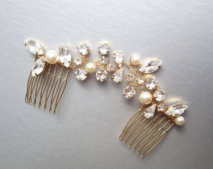 Crystal and pearl bridal hair vine, Swarovski wedding hair comb hair vine, Rhinestone bridal comb, Bridal comb in rose gold, silver, gold