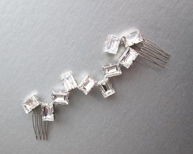 Swarovski crystal hair vine, Bridal crystal hair vine, Modern bridal hair vine, Sparkly bridal headpiece, Wedding hair vine, Bridal comb