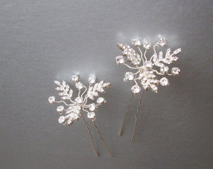 Bridal crystal hair pins in silver, Bridal crystal hair pins, Swarovski hair pins, Sparkly leaf hair pins, Bridal hair pin silver rhinestone