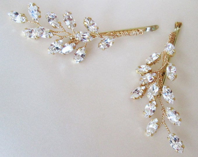 Swarovski crystal hair pins, Bridal crystal bobby pins, Leaf crystal hair pins, Wedding crystal bobby pins, One pair