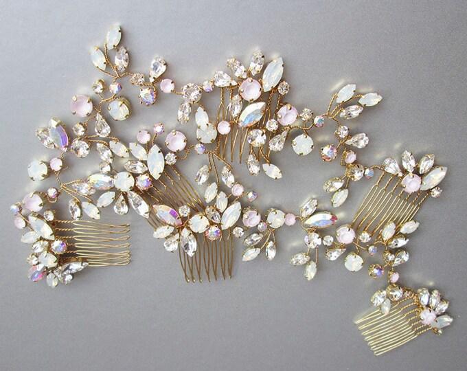 Swarovski crystal bridal hair vine set, Bridal hair comb, Wedding hair comb in rose gold, gold, silver, Bridal circlet, Bridal headdress