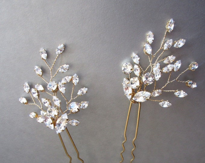 Swarovski crystal hair pins, Bridal crystal hair pins, Wedding hair pins, Crystal floral hair pin, Sparkly bridal pin, Bridal Swarovski pins