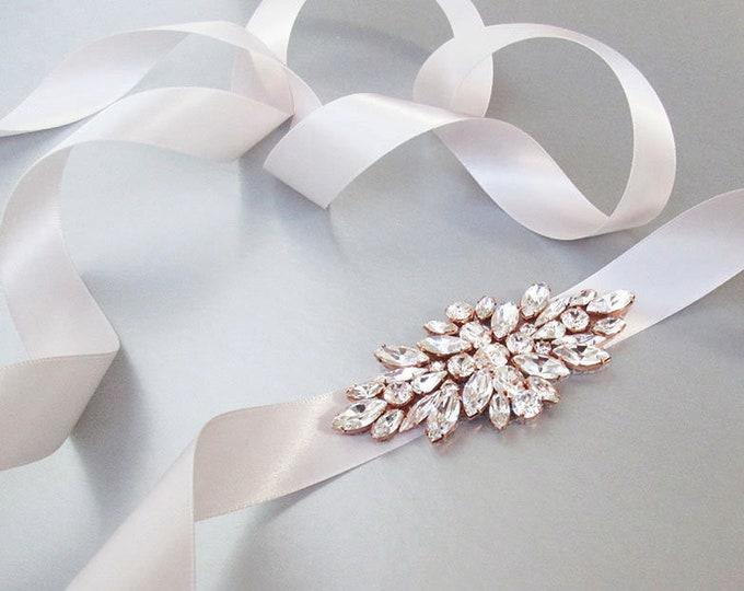 Pastel pink Bridal belt sash, Swarovski crystal bridal belt sash, Pale pink Wedding belt, Rhinestone bridal belt in gold, silver, rose gold