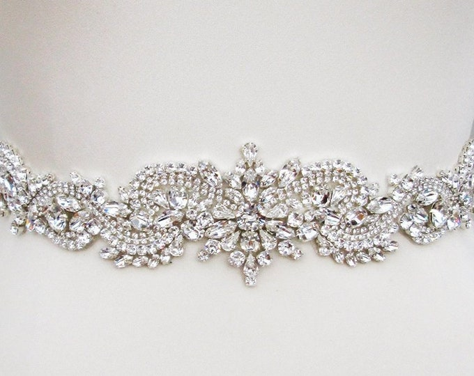 Dragon belt, Exquisite Swarovski Bridal belt sash, Crystal belt in silver or gold, Wedding belt, Clasp closure belt, Fitted Swarovski belt