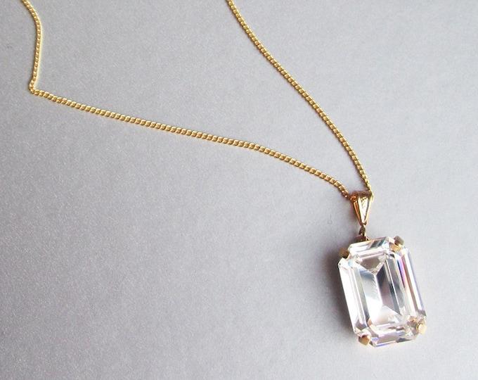 Swarovski crystal necklace, Bridal crystal pendant necklace, Swarovski rhinestone Bridesmaids jewelry in gold, silver, rose gold, octagon