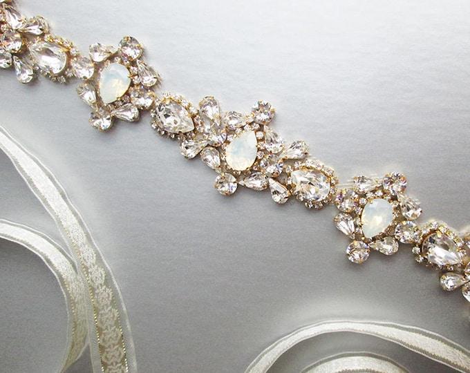 Opal bridal Swarovski belt, Crystal belt sash in gold, silver, Wedding belt, Waist sash, Opal bridal belt,  White Opal crystal beaded belt