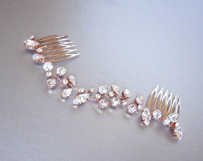Swarovski crystal hair vine rose gold, Bridal hair comb, Wedding hair Swarovski comb, Dainty crystal hair vine, Sparkly bridal headpiece