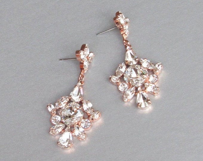 Rose gold Bridal Swarovski crystal earrings, Chandelier bridal earrings, Wedding Swarovski earrings, Rhinestone dangling drop earrings
