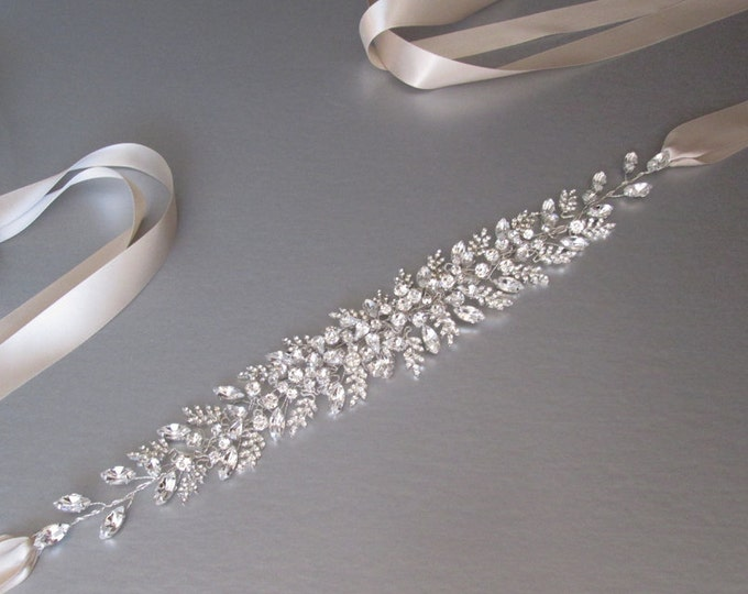 Bridal Swarovski sash belt in gold, silver or rose gold, Beaded bridal sash, Swarovski belt, Wedding sash ribbon belt, Floating crystals