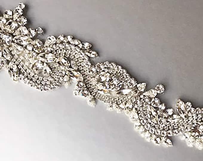 Dragon belt, Exquisite Swarovski Bridal belt sash, Crystal belt in silver or gold, Wedding belt, Clasp closure belt, Fitted Swarovski belt