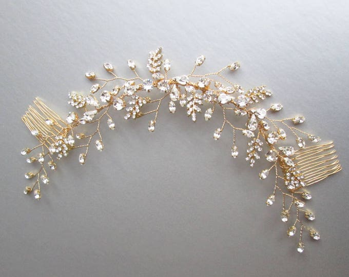Swarovski crystal hair vine, Bridal Headband, Bridal rhinestone hair vine, Wedding headpiece, Bridal hair vine, gold, silver, rose gold