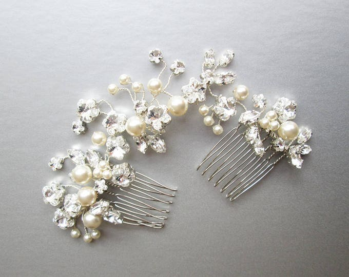 Swarovski crystal and pearl hair vine, Bridal comb, Wedding comb hair vine, Crystal and pearl hair comb, Bridal hair vine silver or gold