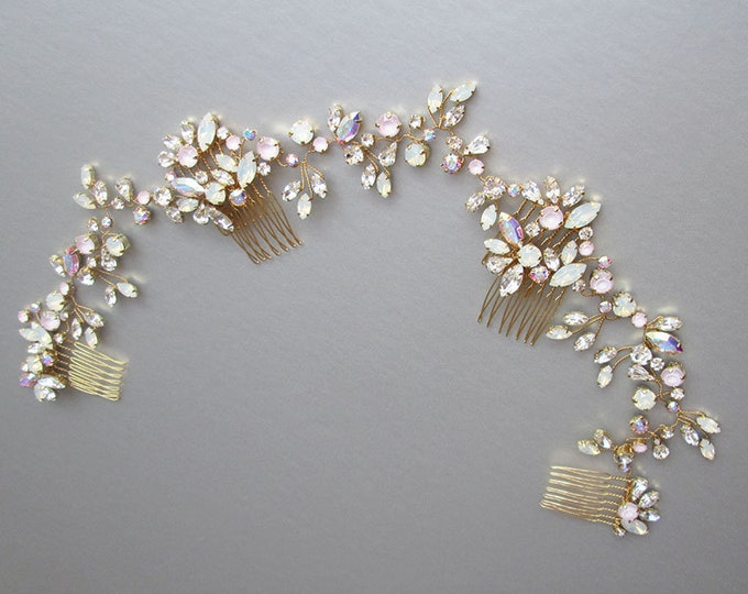 Swarovski crystal bridal hair vine set, Bridal hair comb, Wedding hair comb in rose gold, gold, silver, Bridal circlet, Bridal headdress