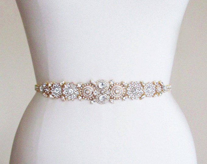 Bridal crystal belt sash, Gold bridal belt, Rhinestone crystal belt, Wedding belt, Waist sash, Beaded bridal belt, Grosgrain ribbon belt