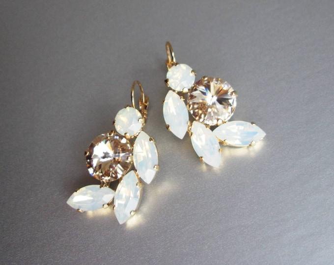 Opal bridal crystal earrings, Swarovski crystal bridal earrings, Opal Swarovski earrings,  Bridal rhinestone earrings in gold or silver