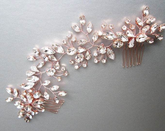 Rose gold Swarovski bridal hair vine, Rose gold bridal comb, Wedding hair comb, Rhinestone bridal headpiece, Wedding hair vine gold, silver