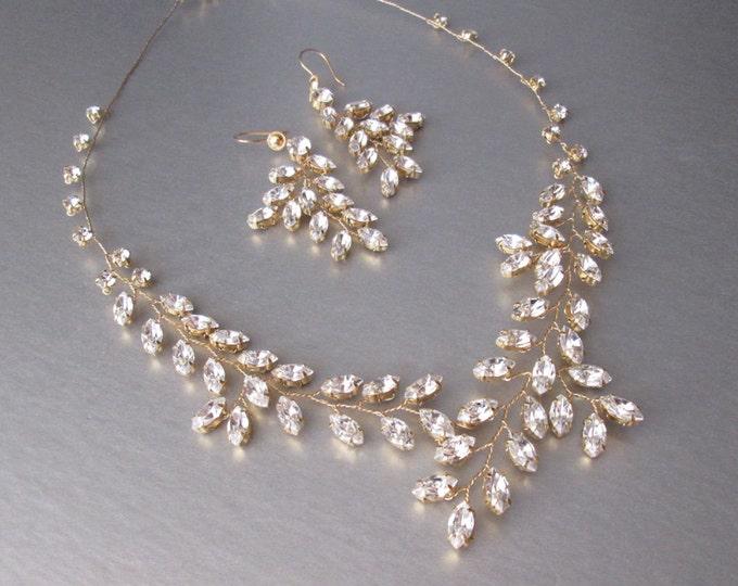 Bridal Swarovski crystal necklace in gold or silver, Bridal necklace, Swarovski crystal necklace, Sparkly rhinestone necklace gold or silver