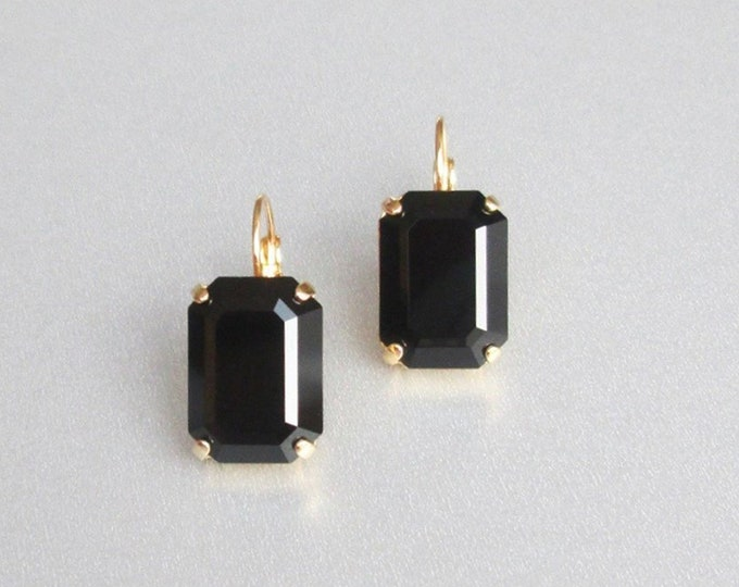 Black drop Swarovski crystal emerald cut earrings, Emerald Swarovski drop earrings, Jet black drop earrings in gold, silver, rose gold