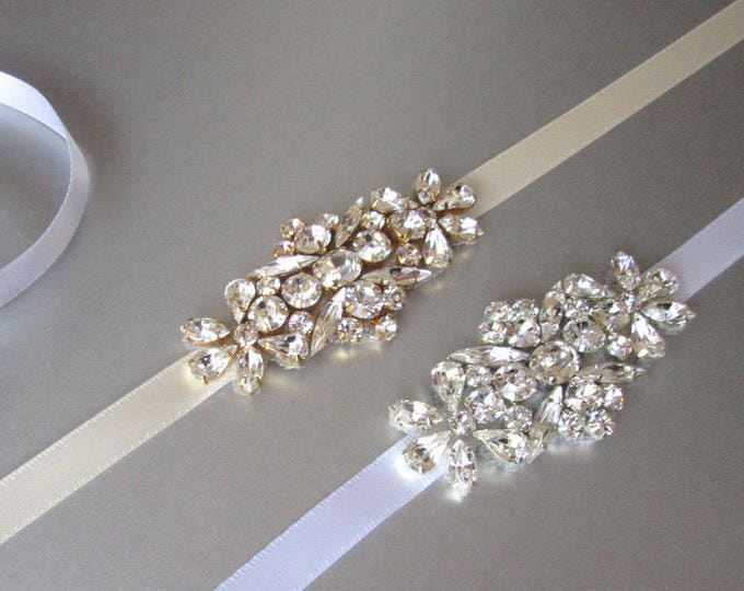 Bridal belt sash, Swarovski crystal belt sash, Wedding belt sash, Crystal belt, Rhinestone bridal belt in gold or silver, Small crystal belt