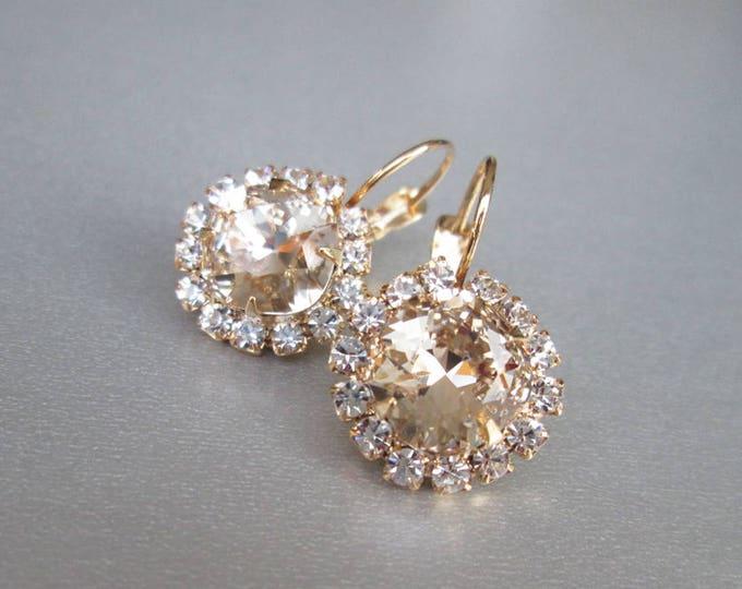 Swarovski crystal bridal earrings, Swarovski earrings in gold or silver, Wedding crystal earrings, Cushion cut earrings Swarovski light silk