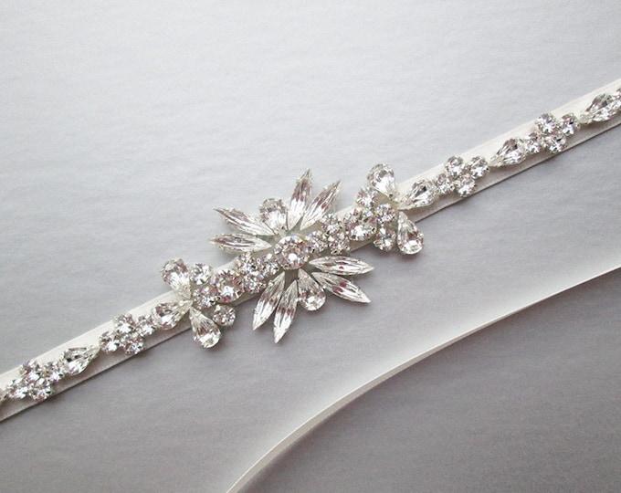 Bridal belt sash, Skinny bridal crystal sash, Wedding belt, Crystal belt, Rhinestone bridal belt, Bridal belt in gold, silver, rose gold