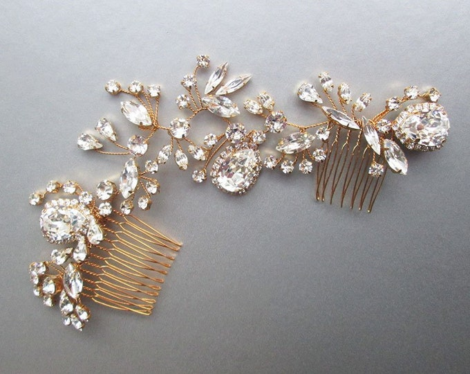 Swarovski crystal bridal hair vine, Bridal hair comb, Wedding hair comb, Swarovski bridal hair vine headpiece in gold, silver, rose gold