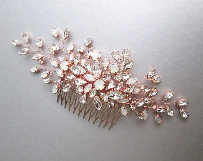 Rose gold Opal Swarovski crystal hair comb, Bridal crystal hair comb, Rhinestone bridal comb, Opal Wedding hair comb, Leaf vine floral comb