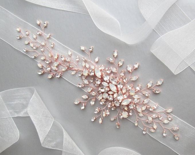 Rose gold Exquisite bridal Swarovski opal belt sash, Organza Wedding crystal belt, Swarovski crystal floral belt gold, rose gold, silver
