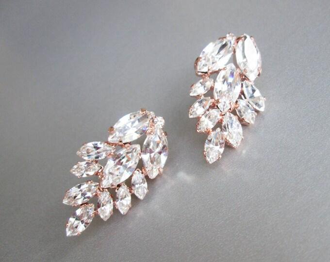 Rose gold bridal crystal earrings, Swarovski crystal bridal earrings, Bridal rhinestone stud earrings in gold, silver, rose gold
